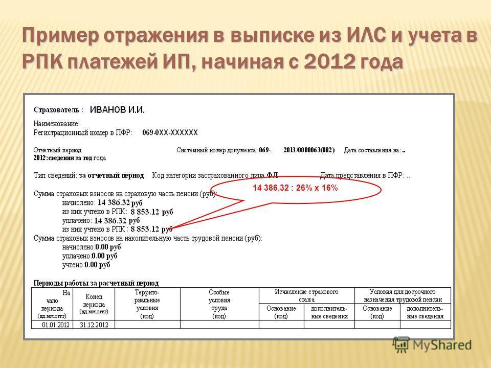 Пример отражения в выписке из ИЛС и учета в РПК платежей ИП, начиная с 2012 года 14 386,32 : 26% х 16%