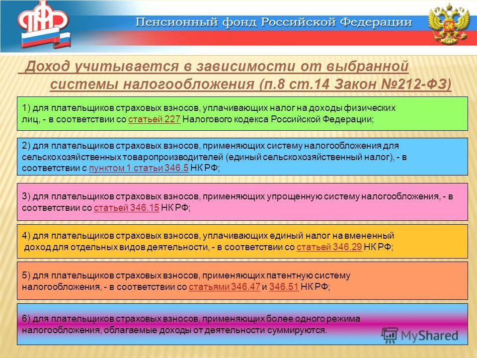 Доход учитывается в зависимости от выбранной системы налогообложения (п.8 ст.14 Закон 212-ФЗ) 1) для плательщиков страховых взносов, уплачивающих налог на доходы физических лиц, - в соответствии со статьей 227 Налогового кодекса Российской Федерации;