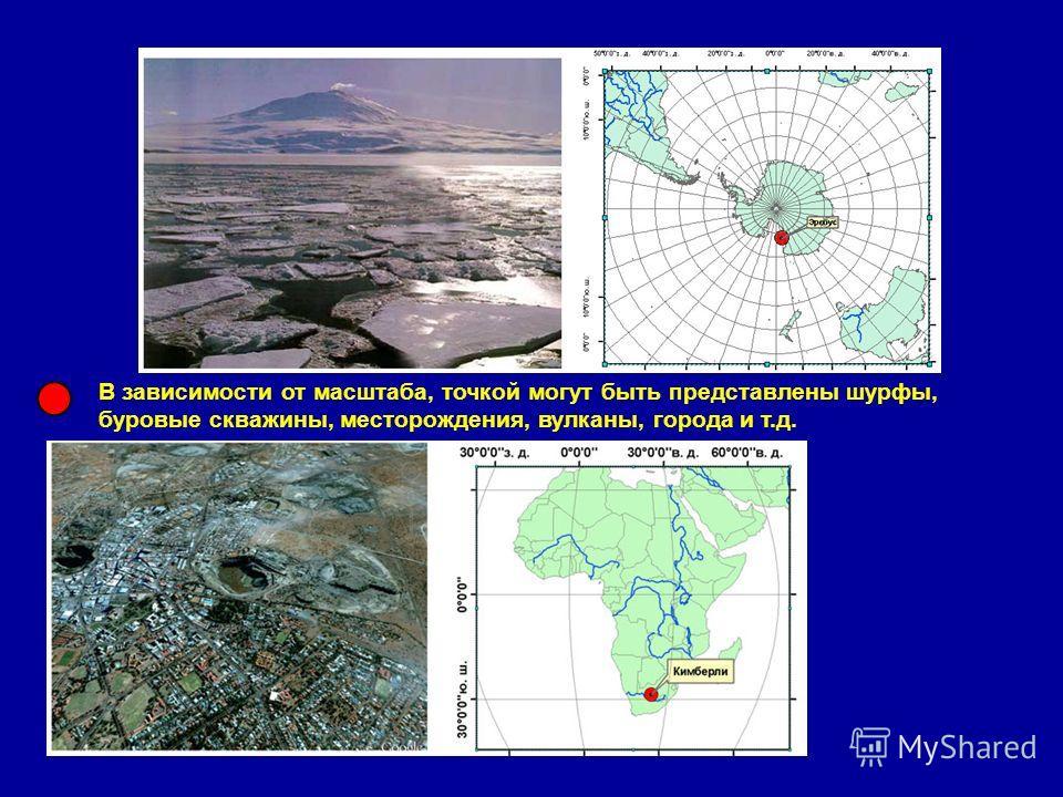 В зависимости от масштаба, точкой могут быть представлены шурфы, буровые скважины, месторождения, вулканы, города и т.д.