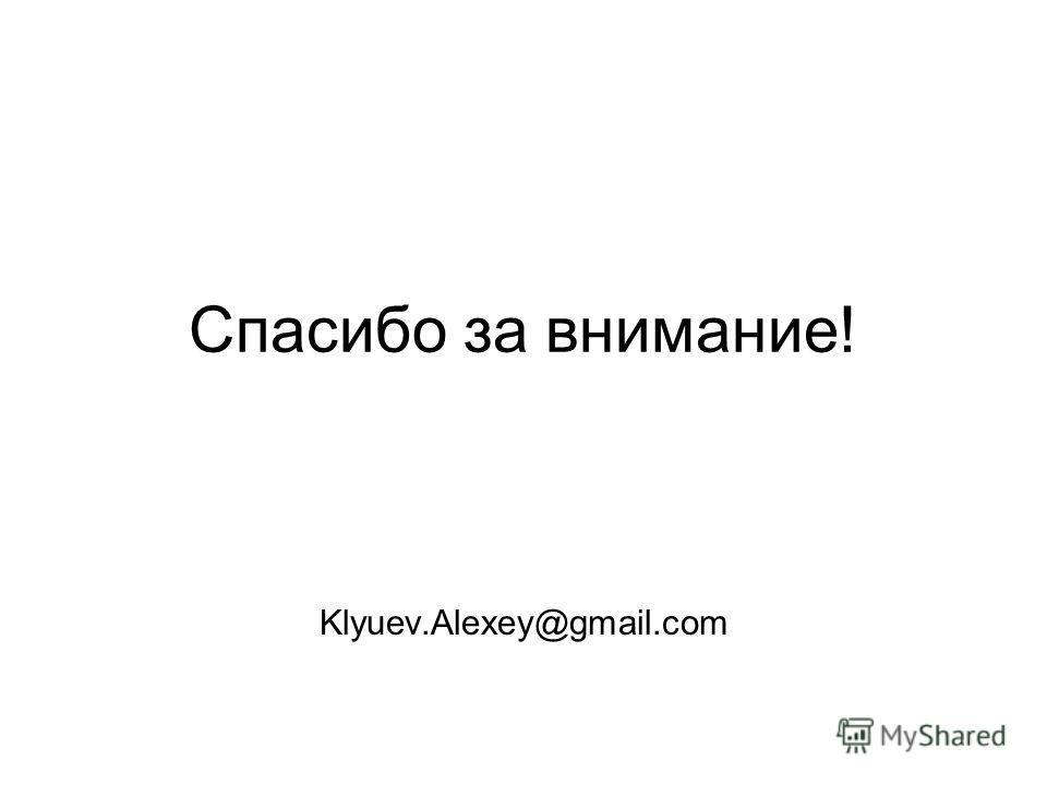 Спасибо за внимание! Klyuev.Alexey@gmail.com