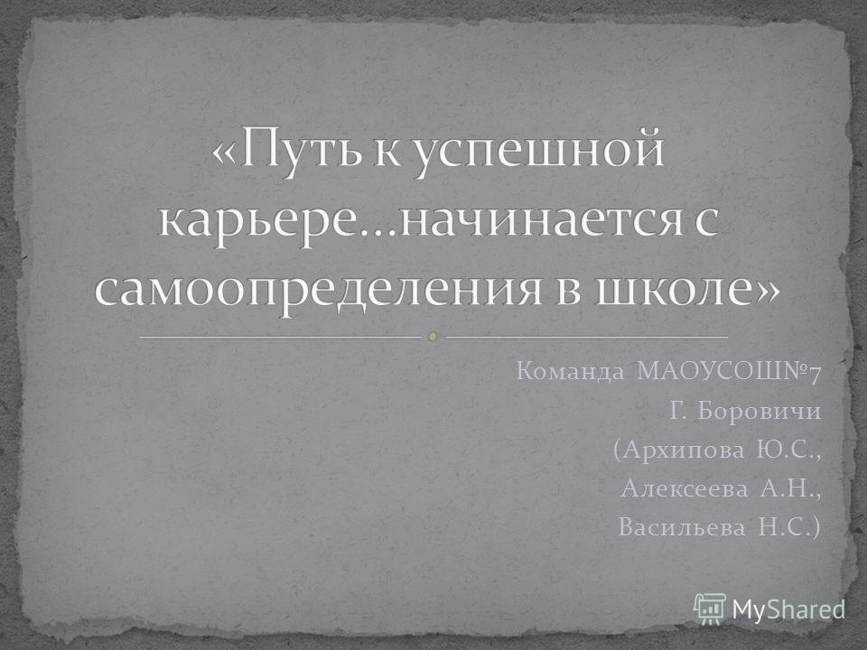 Команда МАОУСОШ7 Г. Боровичи (Архипова Ю.С., Алексеева А.Н., Васильева Н.С.)