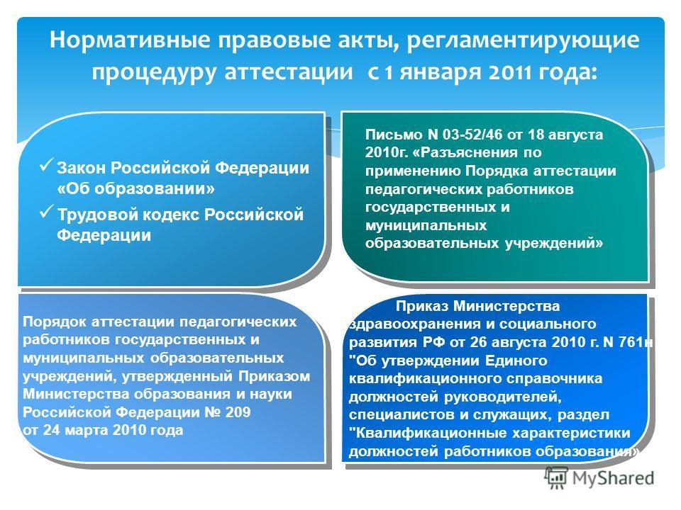 Нормативные правовые акты, регламентирующие процедуру аттестации с 1 января 2011 года: Закон Российской Федерации «Об образовании» Трудовой кодекс Российской Федерации Письмо N 03-52/46 от 18 августа 2010г. «Разъяснения по применению Порядка аттестац