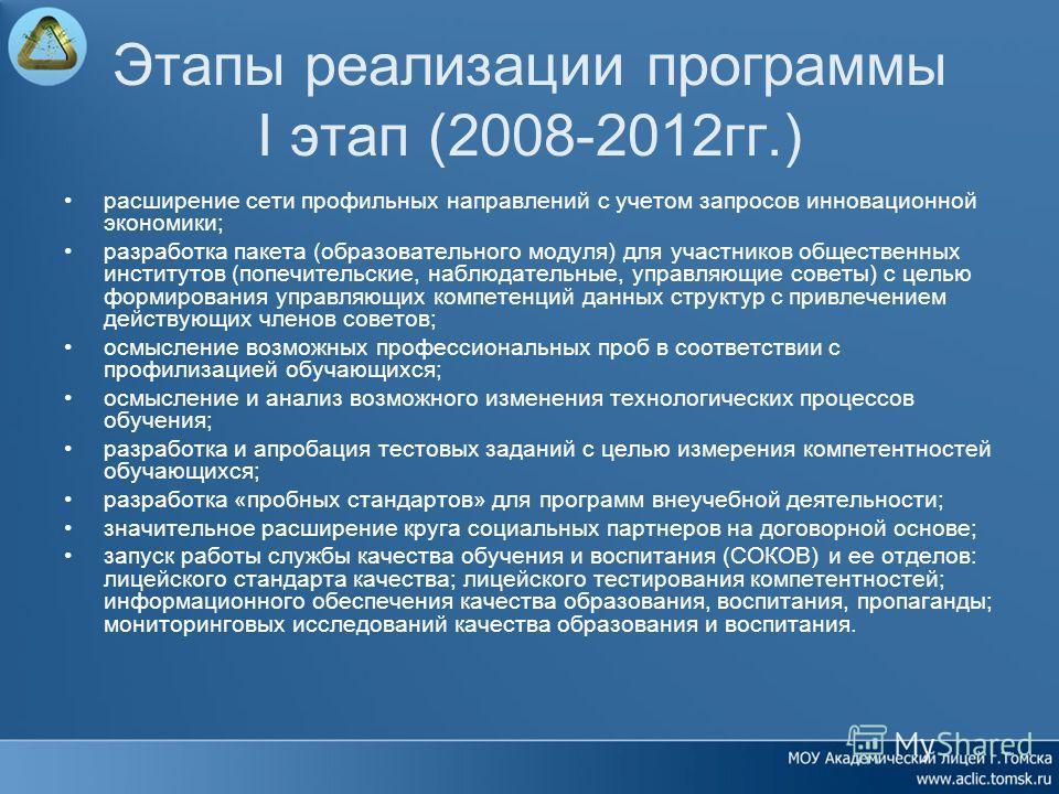 Этапы реализации программы I этап (2008-2012гг.) расширение сети профильных направлений с учетом запросов инновационной экономики; разработка пакета (образовательного модуля) для участников общественных институтов (попечительские, наблюдательные, упр