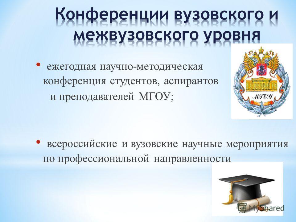 ежегодная научно-методическая конференция студентов, аспирантов и преподавателей МГОУ; всероссийские и вузовские научные мероприятия по профессиональной направленности
