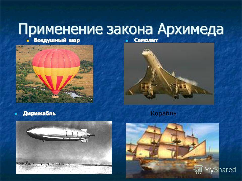 Применение закона Архимеда Воздушный шар Воздушный шар Самолет Самолет Дирижабль Дирижабль Корабль