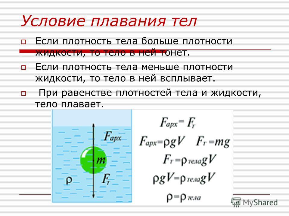 Если плотность тела больше плотности жидкости, то тело в ней тонет. Если плотность тела меньше плотности жидкости, то тело в ней всплывает. При равенстве плотностей тела и жидкости, тело плавает.