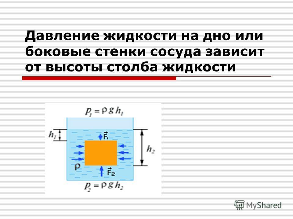 Давление жидкости на дно или боковые стенки сосуда зависит от высоты столба жидкости