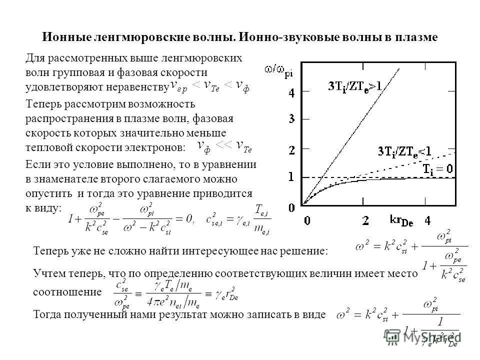 Ионные ленгмюровские волны. Ионно-звуковые волны в плазме Для рассмотренных выше ленгмюровских волн групповая и фазовая скорости удовлетворяют неравенству Теперь рассмотрим возможность распространения в плазме волн, фазовая скорость которых значитель
