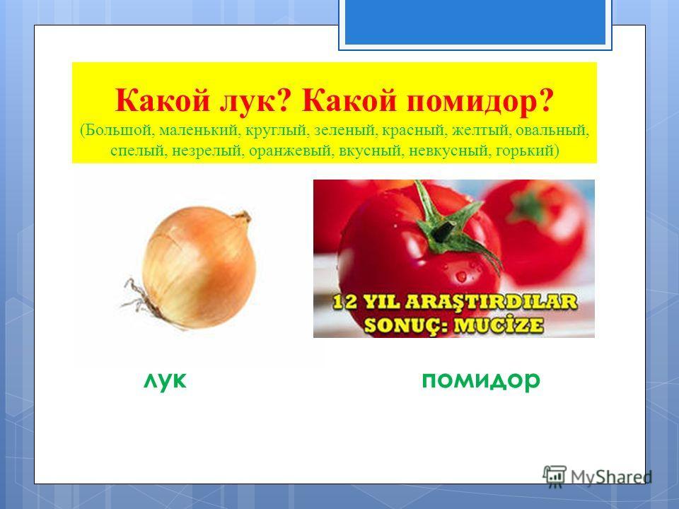Какой лук? Какой помидор? (Большой, маленький, круглый, зеленый, красный, желтый, овальный, спелый, незрелый, оранжевый, вкусный, невкусный, горький) лукпомидор