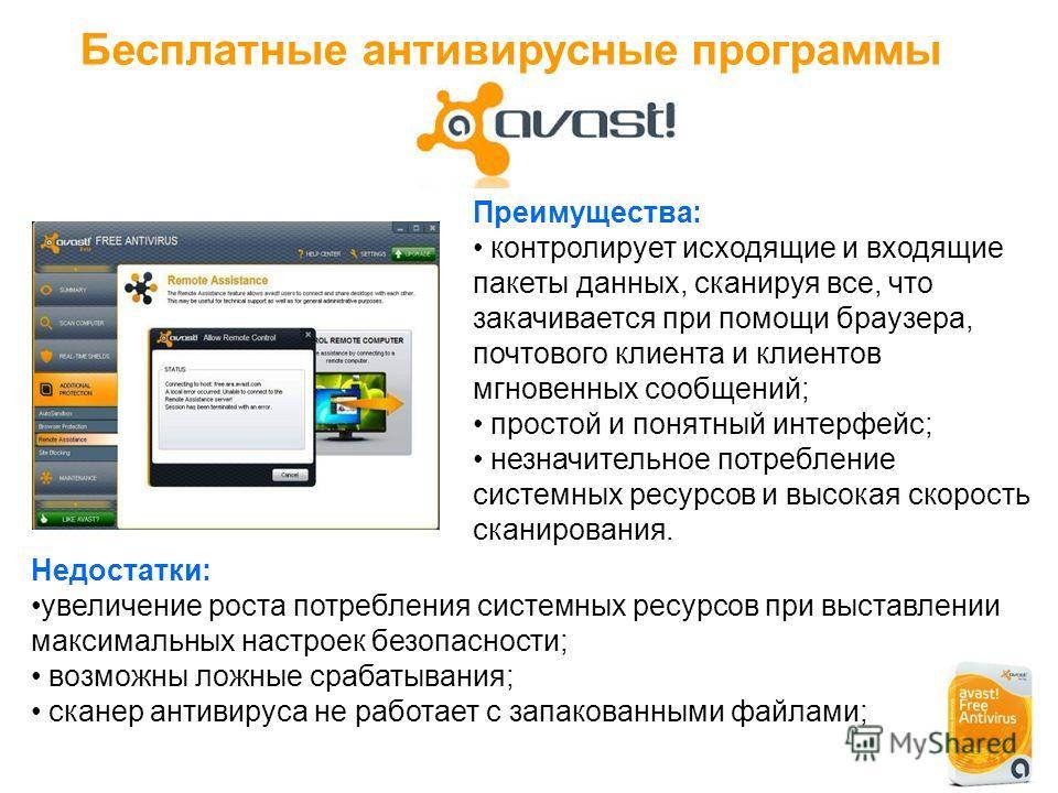 Бесплатные антивирусные программы Преимущества: контролирует исходящие и входящие пакеты данных, сканируя все, что закачивается при помощи браузера, почтового клиента и клиентов мгновенных сообщений; простой и понятный интерфейс; незначительное потре
