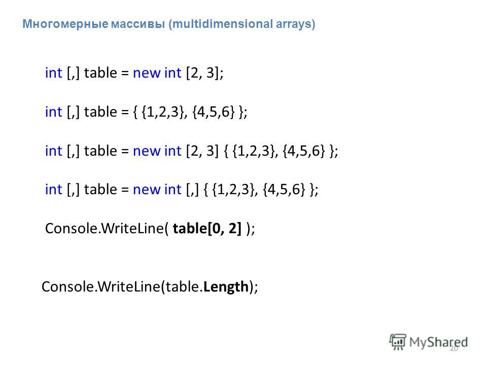 int [,] table = new int [2, 3]; int [,] table = { {1,2,3}, {4,5,6} }; int [,] table = new int [2, 3] { {1,2,3}, {4,5,6} }; int [,] table = new int [,] { {1,2,3}, {4,5,6} }; Console.WriteLine( table[0, 2] ); Console.WriteLine(table.Length); 20 Многоме