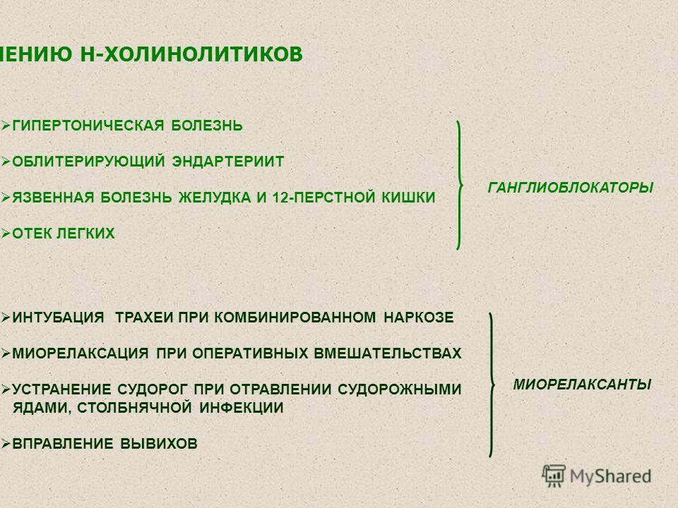 ГИПЕРТОНИЧЕСКАЯ БОЛЕЗНЬ ОБЛИТЕРИРУЮЩИЙ ЭНДАРТЕРИИТ ЯЗВЕННАЯ БОЛЕЗНЬ ЖЕЛУДКА И 12-ПЕРСТНОЙ КИШКИ ОТЕК ЛЕГКИХ ПОКАЗАНИЯ К НАЗНАЧЕНИЮ Н-ХОЛИНОЛИТИКОВ ИНТУБАЦИЯ ТРАХЕИ ПРИ КОМБИНИРОВАННОМ НАРКОЗЕ МИОРЕЛАКСАЦИЯ ПРИ ОПЕРАТИВНЫХ ВМЕШАТЕЛЬСТВАХ УСТРАНЕНИЕ СУ