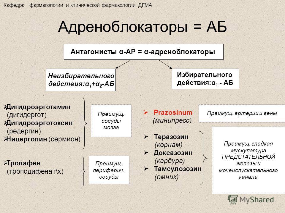 Адреноблокаторы = АБ Антагонисты α-АР = α-адреноблокаторы Неизбирательного действия:α 1 +α 2 -АБ Избирательного действия:α 1 - АБ Дигидроэрготамин (дигидергот) Дигидроэрготоксин (редергин) Ницерголин (сермион) Тропафен (троподифена г\х) Prazosinum (м