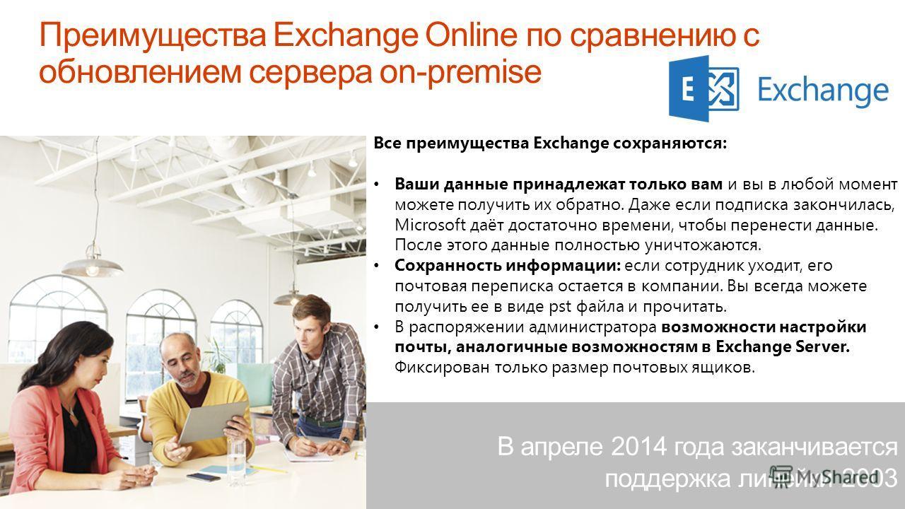 Microsoft Confidential Все преимущества Exchange сохраняются: Ваши данные принадлежат только вам и вы в любой момент можете получить их обратно. Даже если подписка закончилась, Microsoft даёт достаточно времени, чтобы перенести данные. После этого да