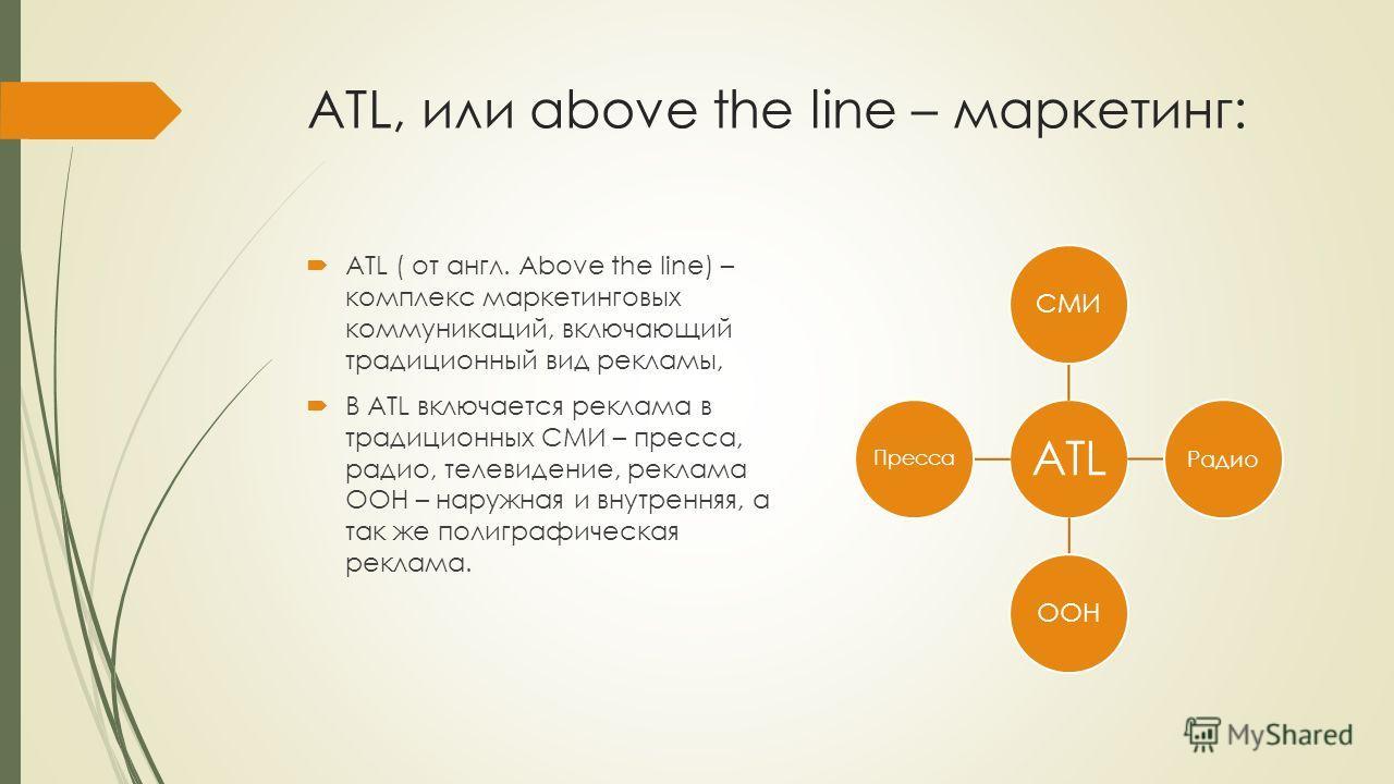 ATL, или above the line – маркетинг: ATL ( от англ. Above the line) – комплекс маркетинговых коммуникаций, включающий традиционный вид рекламы, В ATL включается реклама в традиционных СМИ – пресса, радио, телевидение, реклама ООН – наружная и внутрен