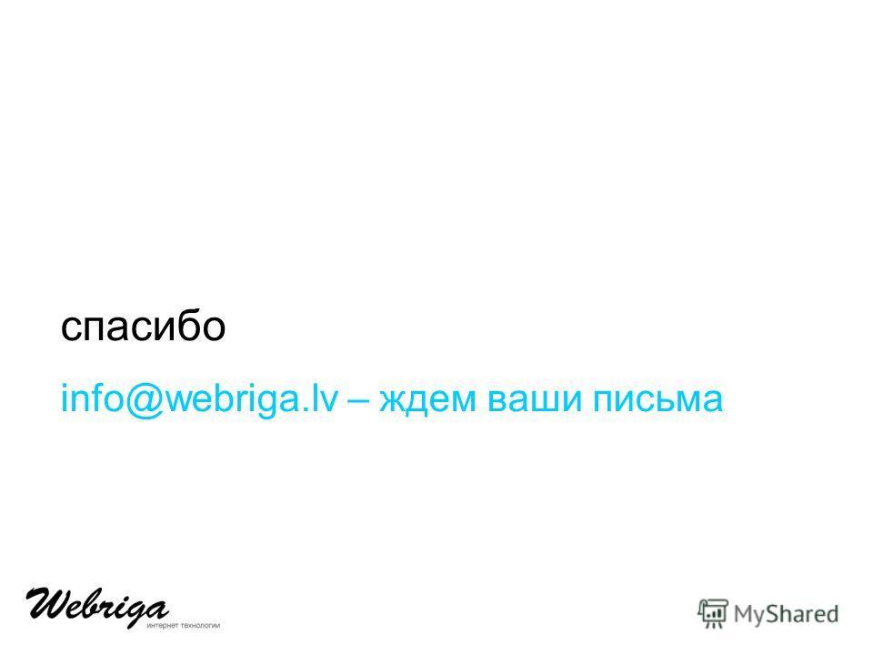cпасибо info@webriga.lv – ждем ваши письма