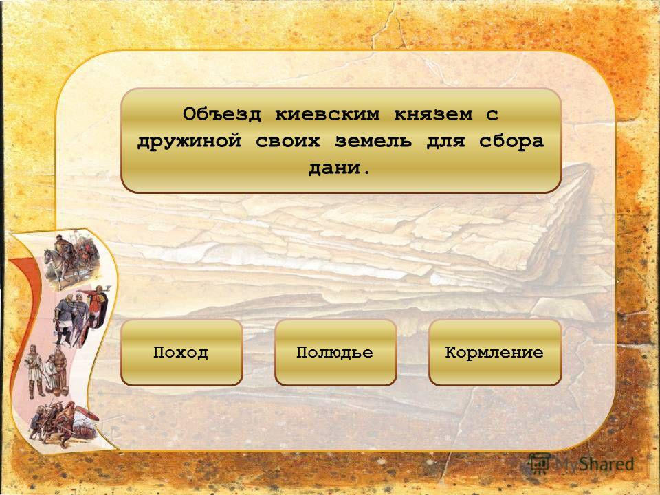 Объезд киевским князем с дружиной своих земель для сбора дани. ПоходПолюдьеКормление