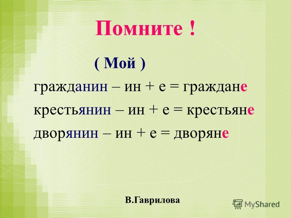 Помните ! ( Мой ) гражданин – ин + е = граждане крестьянин – ин + е = крестьяне дворянин – ин + е = дворяне В.Гаврилова