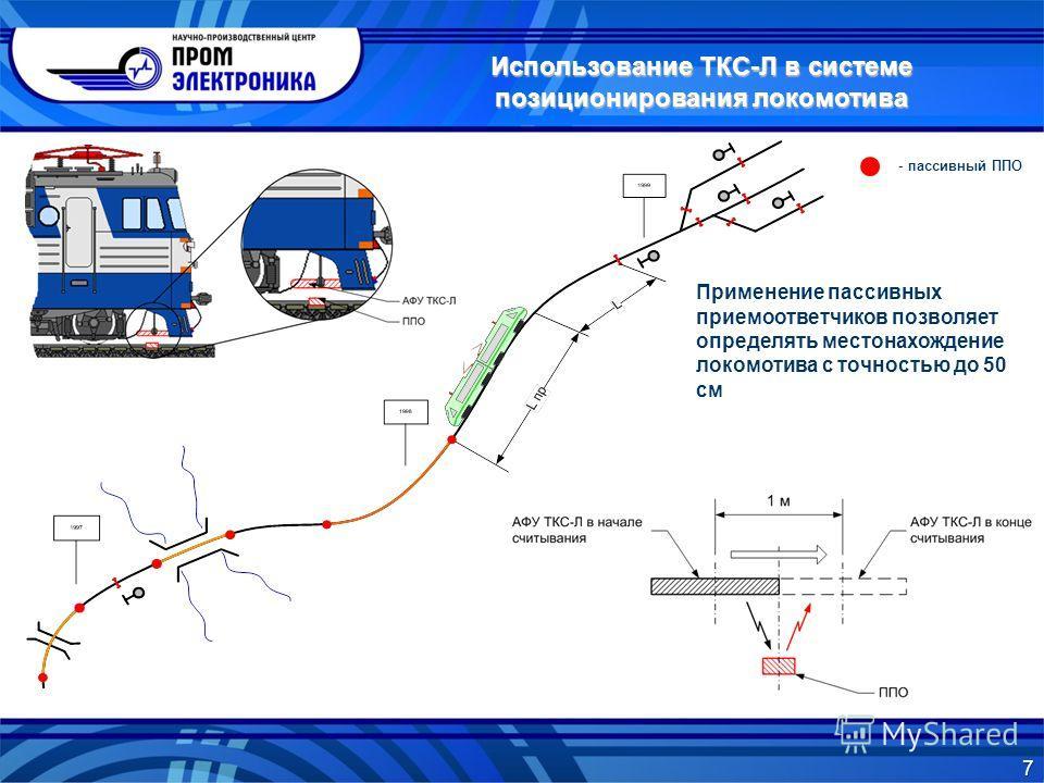 Применение пассивных приемоответчиков позволяет определять местонахождение локомотива с точностью до 50 см - пассивный ППО 7 Использование ТКС-Л в системе позиционирования локомотива