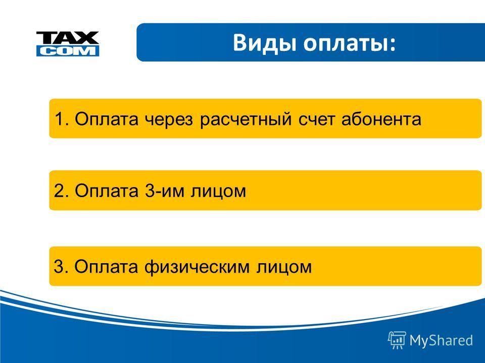 Виды оплаты: 1. Оплата через расчетный счет абонента 2. Оплата 3-им лицом 3. Оплата физическим лицом