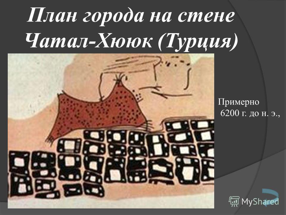 План города на стене Чатал-Хююк (Турция) Примерно 6200 г. до н. э.,