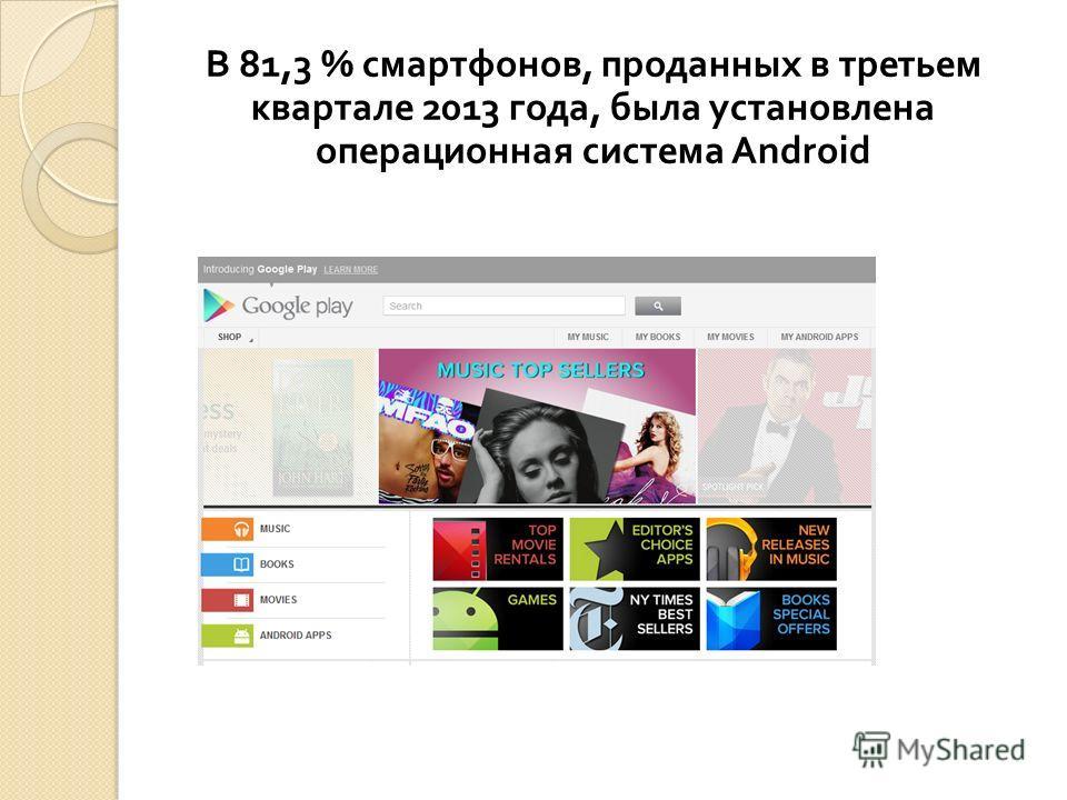 В 81,3 % смартфонов, проданных в третьем квартале 2013 года, была установлена операционная система Android