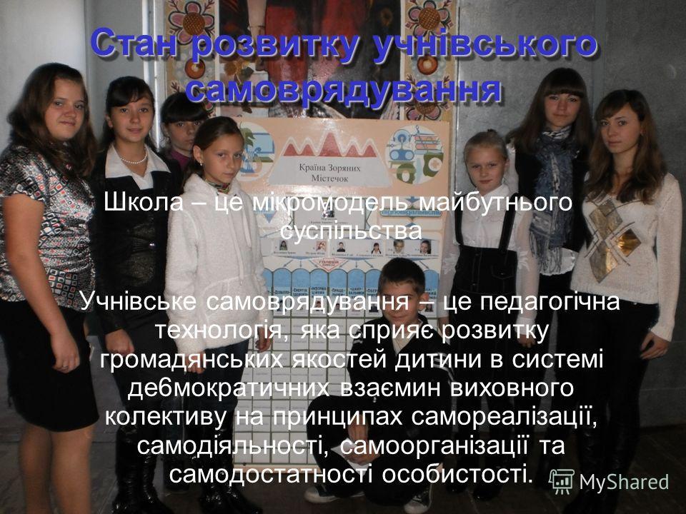 Стан розвитку учнівського самоврядування Школа – це мікромодель майбутнього суспільства Учнівське самоврядування – це педагогічна технологія, яка сприяє розвитку громадянських якостей дитини в системі де6мократичних взаємин виховного колективу на при