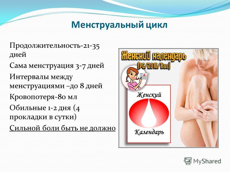 Менструальный цикл Продолжительность-21-35 дней Сама менструация 3-7 дней Интервалы между менструациями –до 8 дней Кровопотеря-80 мл Обильные 1-2 дня (4 прокладки в сутки) Сильной боли быть не должно