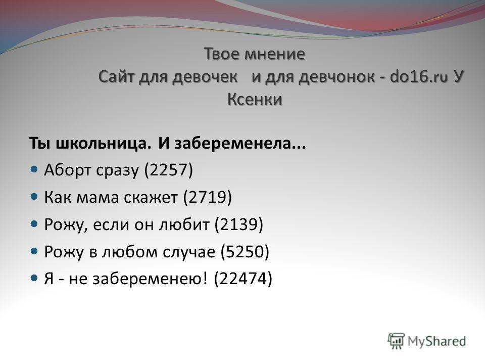 Твое мнение Сайт для девочек и для девчонок - do16.ru У Ксенки Ты школьница. И забеременела... Аборт сразу (2257) Как мама скажет (2719) Рожу, если он любит (2139) Рожу в любом случае (5250) Я - не забеременею ! (22474)