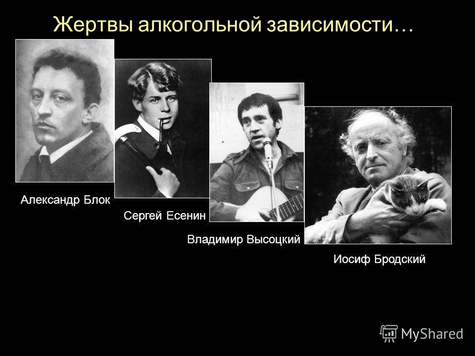 Жертвы алкогольной зависимости… Иосиф Бродский Александр Блок Владимир Высоцкий Сергей Есенин