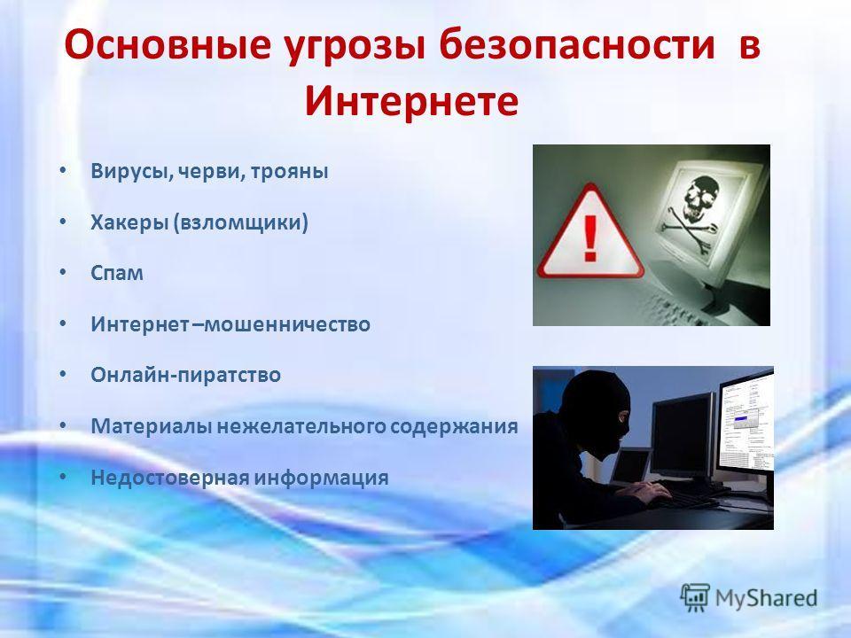 Основные угрозы безопасности в Интернете Вирусы, черви, трояны Хакеры (взломщики) Спам Интернет –мошенничество Онлайн-пиратство Материалы нежелательного содержания Недостоверная информация