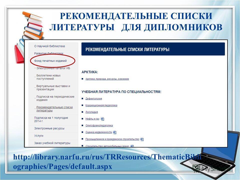 РЕКОМЕНДАТЕЛЬНЫЕ СПИСКИ ЛИТЕРАТУРЫ ДЛЯ ДИПЛОМНИКОВ http://library.narfu.ru/rus/TRResources/ThematicBibli ographies/Pages/default.aspx