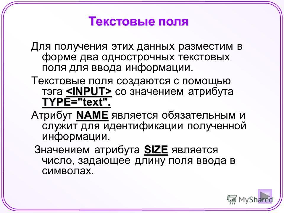 Текстовые поля Для получения этих данных разместим в форме два однострочных текстовых поля для ввода информации. TYPE=