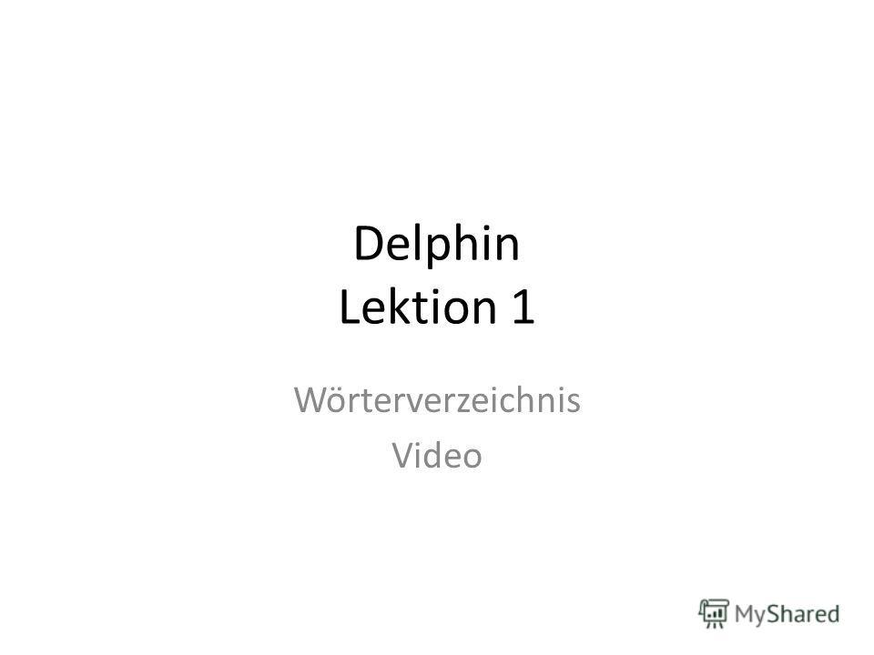 Delphin Lektion 1 Wörterverzeichnis Video