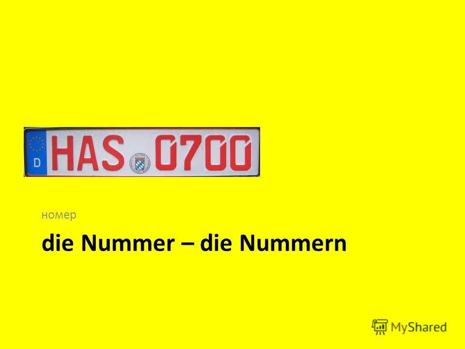 die Nummer – die Nummern номер