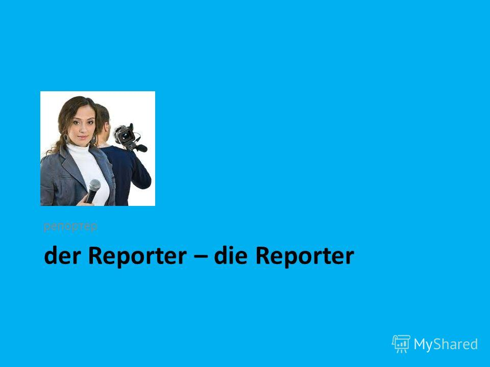 der Reporter – die Reporter репортер