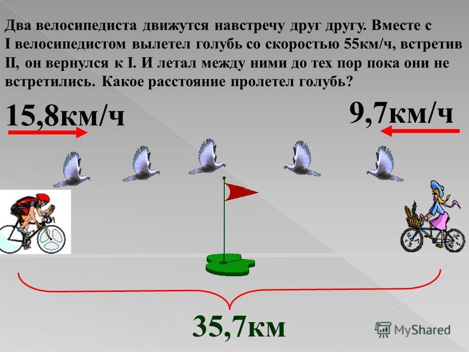 Два велосипедиста движутся навстречу друг другу. Вместе с I велосипедистом вылетел голубь со скоростью 55км/ч, встретив II, он вернулся к I. И летал между ними до тех пор пока они не встретились. Какое расстояние пролетел голубь? 15,8км/ч 9,7км/ч 35,