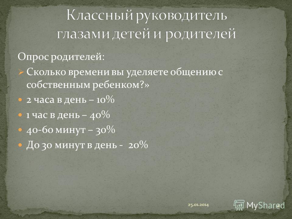 Опрос родителей: Сколько времени вы уделяете общению с собственным ребенком?» 2 часа в день – 10% 1 час в день – 40% 40-60 минут – 30% До 30 минут в день - 20% 25.01.2014 2