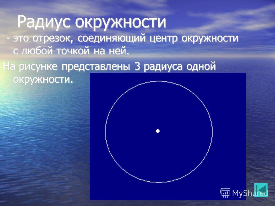 Радиус окружности - это отрезок, соединяющий центр окружности с любой точкой на ней. - это отрезок, соединяющий центр окружности с любой точкой на ней. На рисунке представлены 3 радиуса одной окружности. А О B C