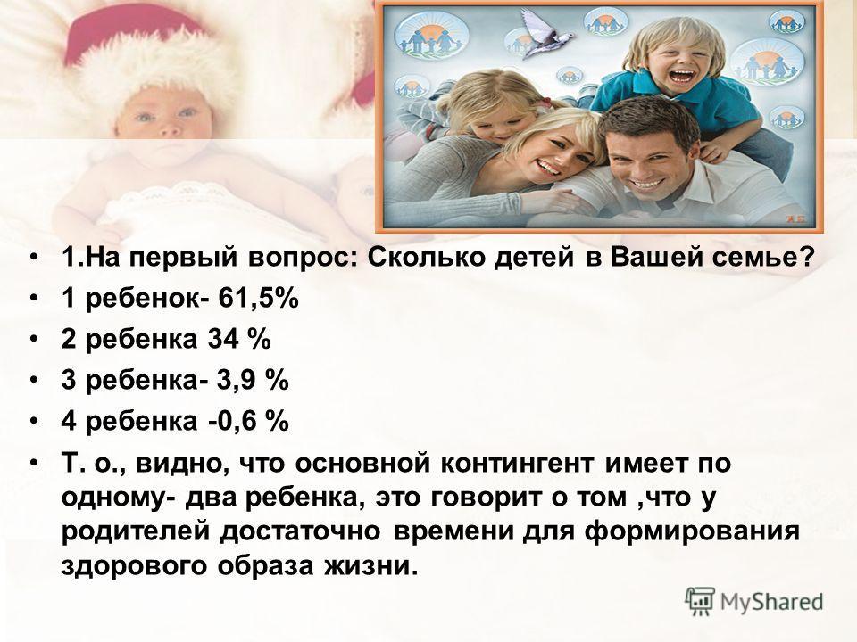 1.На первый вопрос: Сколько детей в Вашей семье? 1 ребенок- 61,5% 2 ребенка 34 % 3 ребенка- 3,9 % 4 ребенка -0,6 % Т. о., видно, что основной контингент имеет по одному- два ребенка, это говорит о том,что у родителей достаточно времени для формирован