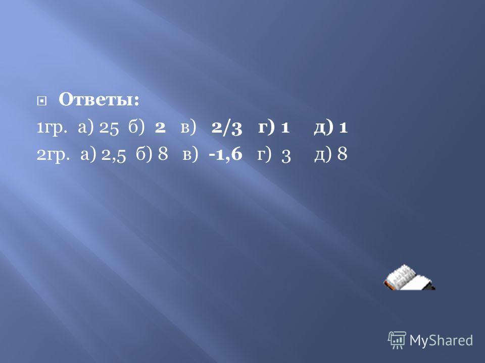 Решите уравнения ( задание на 5 минут) 1-я группа2 –я группа а) log 5 x = 2а) log 0.4 x = -1 б) log 3 (5x-1) = 2 б) log 5 (3x+1) = 2 в) lg (3x-1) = 0в) lg (2-5x) = 1 г) log 3 x 3 = 0 г) log 3 x 3 = 3 д) log 3 x 2 = 0 д) log 4 x 2 = 3 (5б)