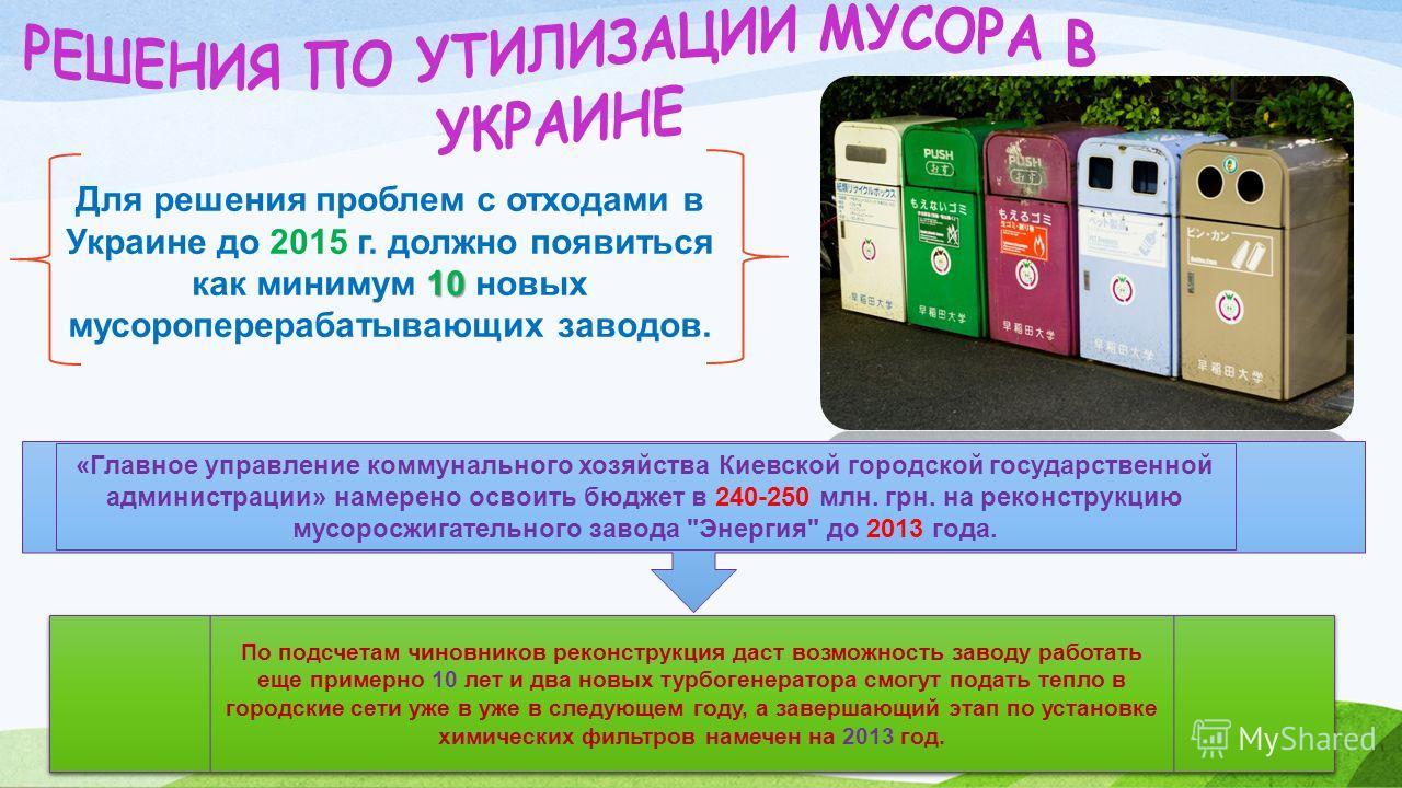 10 Для решения проблем с отходами в Украине до 2015 г. должно появиться как минимум 10 новых мусороперерабатывающих заводов. «Главное управление коммунального хозяйства Киевской городской государственной администрации» намерено освоить бюджет в 240-2