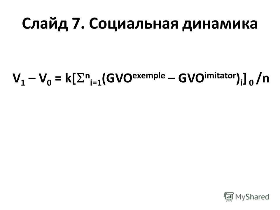 Слайд 7. Социальная динамика V 1 – V 0 = k[ n i=1 (GVO exemple – GVO imitator ) i ] 0 /n
