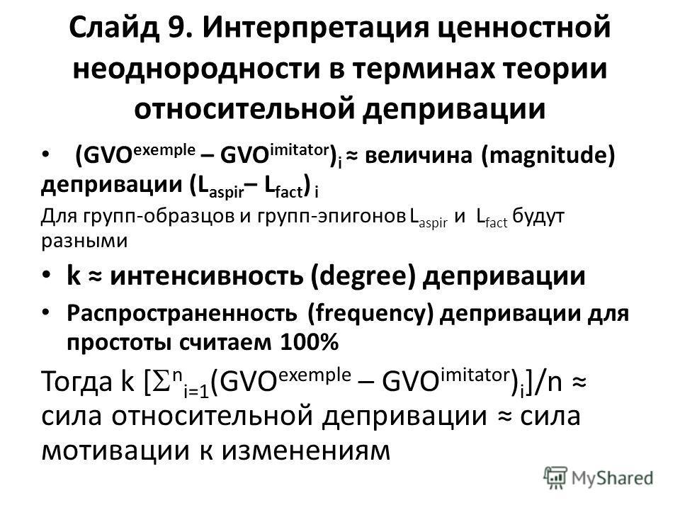 Слайд 9. Интерпретация ценностной неоднородности в терминах теории относительной депривации (GVO exemple – GVO imitator ) i величина (magnitude) депривации (L aspir – L fact ) i Для групп-образцов и групп-эпигонов L aspir и L fact будут разными k инт