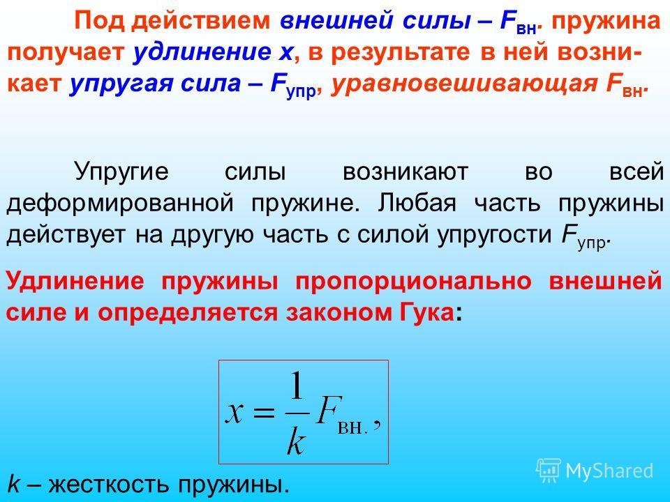 Упругие силы возникают во всей деформированной пружине. Любая часть пружины действует на другую часть с силой упругости F упр. Под действием внешней силы – F вн. пружина получает удлинение x, в результате в ней возни- кает упругая сила – F упр, уравн