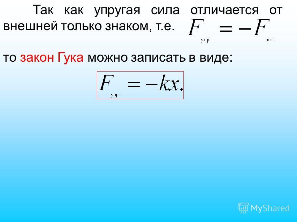Так как упругая сила отличается от внешней только знаком, т.е. то закон Гука можно записать в виде:
