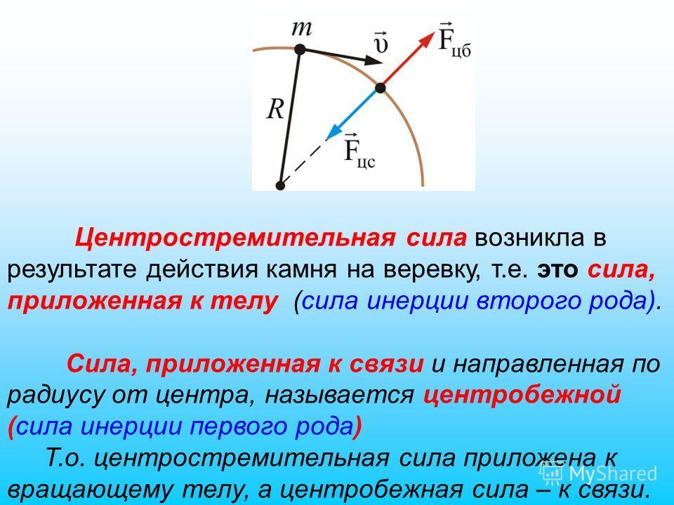 Центростремительная сила возникла в результате действия камня на веревку, т.е. это сила, приложенная к телу (сила инерции второго рода). Сила, приложенная к связи и направленная по радиусу от центра, называется центробежной (сила инерции первого рода