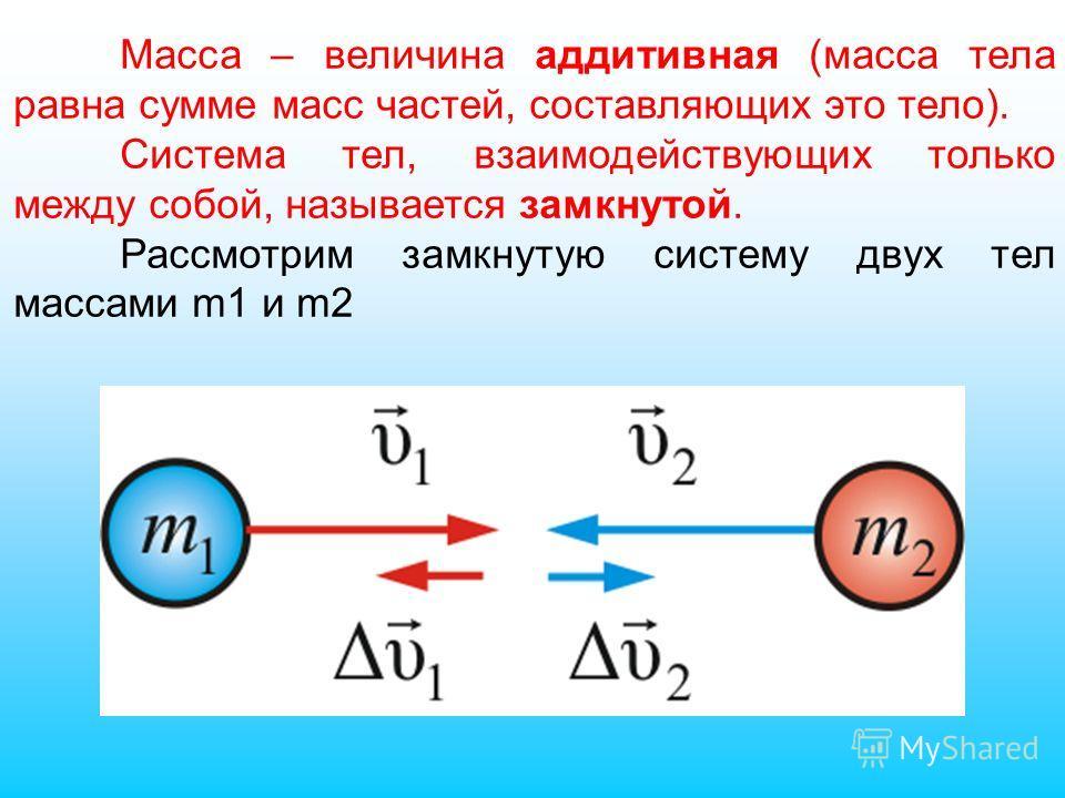 Масса – величина аддитивная (масса тела равна сумме масс частей, составляющих это тело). Система тел, взаимодействующих только между собой, называется замкнутой. Рассмотрим замкнутую систему двух тел массами m1 и m2