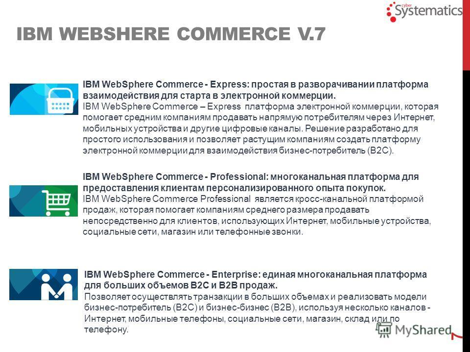 IBM WebSphere Commerce - Enterprise: единая многоканальная платформа для больших объемов B2C и B2B продаж. Позволяет осуществлять транзакции в больших объемах и реализовать модели бизнес-потребитель (B2C) и бизнес-бизнес (B2B), используя несколько ка