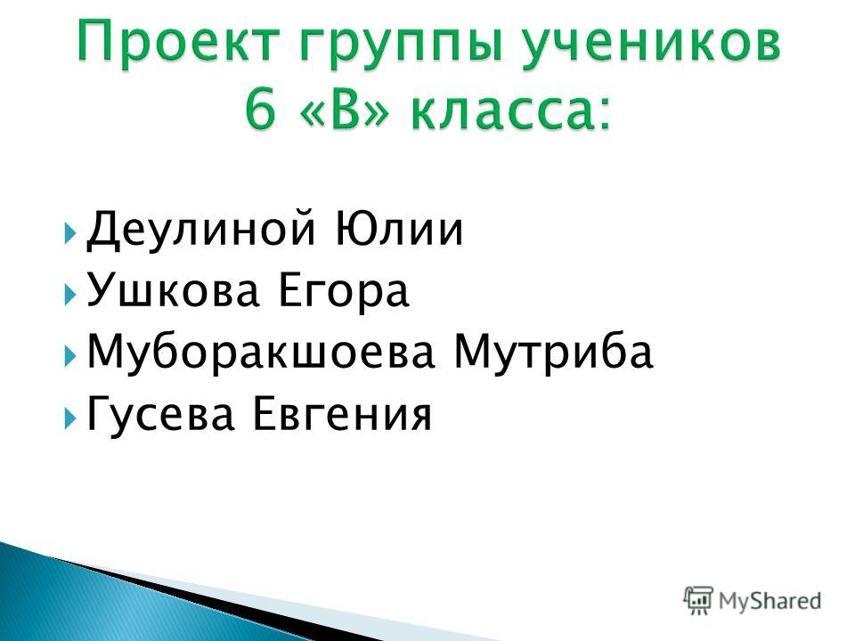Деулиной Юлии Ушкова Егора Муборакшоева Мутриба Гусева Евгения